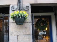 Практически каждый магазинчик или паб украшены подвесными горшками с цветами. Фотография сделана в декабре, а цветение в самом разгаре.