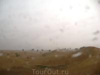 А вот и самые яркие впечатления от поездки! Когда мы отправились на сафари, еще на трассе мы стали свидетелями уникального явления - в пустыне была гроза ...