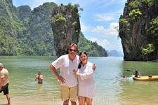 с мужем, остров Джеймса Бонда