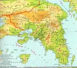Физическая карта Аттики
