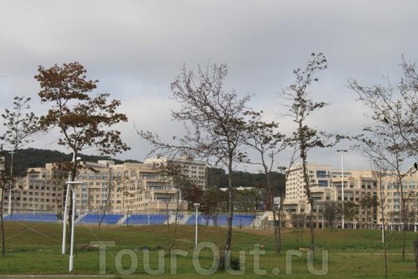 Вид на Прсс-центр саммита АТЭС со стороны набережной