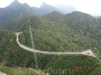 Пешеходный мост высоко в горах над джунглями.