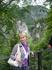 Катя на фоне висячего  моста Марии,который старше ,чем замок Нойшванштайн,пересекает ущелье на высоте 92 метра,над 45-метровым водопадом.