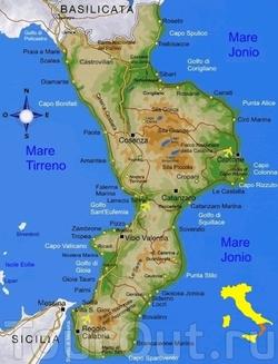 Карта курортов Калабрии