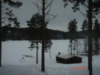 банька при вилле у озера
