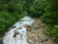 Из-за большого количества сероводорода вода в реке имеет белый цвет.Адлерский район по дороге к агурским водопадам.
