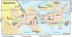 Карта Савонлинны с достопримечательностями