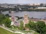 Вид со смотровой площадки на Канавинский мост, Оку и Строгановскую церковь