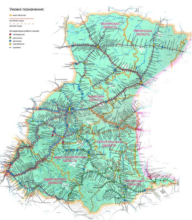 Карта железных дорог Западной