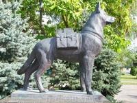 Памятник Собакам-подрывникам,на боку собаки висит сумка с тротилом .Находится неподалеку от памятника Чекистам
