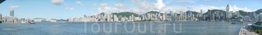 Дневная панорама Гонконга с видом на Central от городской ратуши...