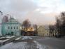 Я от монастыря сняла Успенский кафедральный собор на фоне заката и на переднем плане одно из зданий Спасо-Вознесенского женского монастыря.