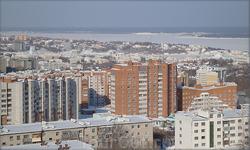 вид на Волгу и город с дома в районе ул. Гагарина