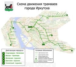 План-схема линий иркутского трамвая на карте города