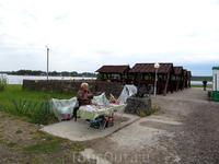 Местный житель, который торговал сувенирами. расположился он в районе причала
