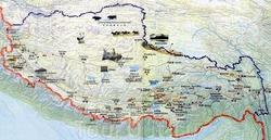 Карта Тибета с достопримечательностями