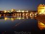 Вечерняя Прага. Вид на Карлов мост и Пражский Град.