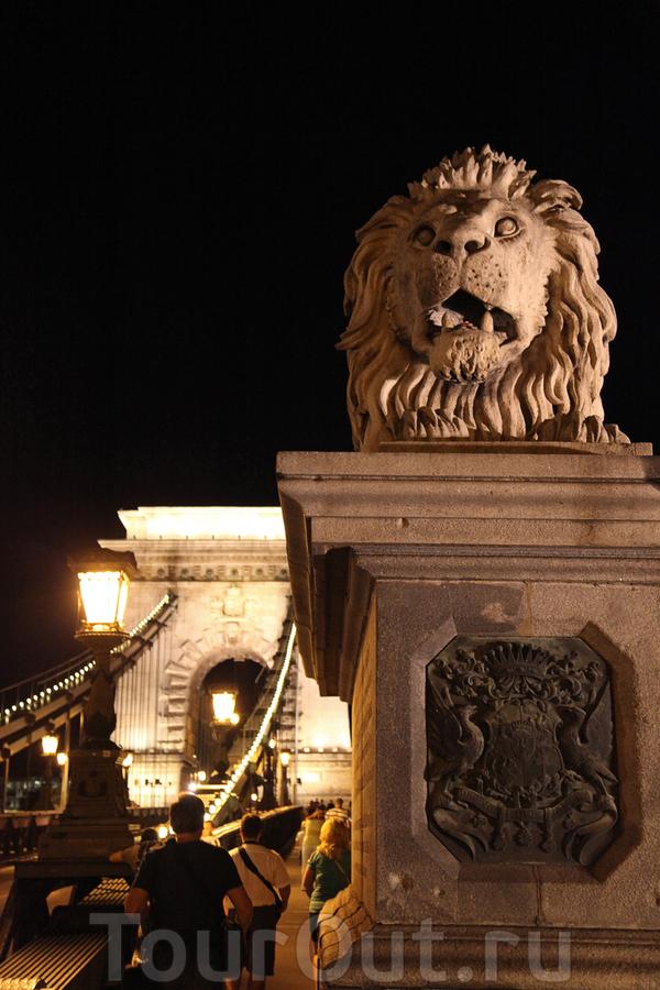 Лев, охраняющий Цепной мост над Дунаем.