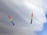 На пляже бывает ветрено и тогда начинают запускать воздушных змеев. Очень красиво!