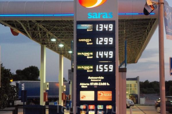 Кома Руга. Заправочная станция на выезде из городка. Для справки - цены на топливо...