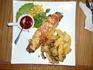 """Вкуснейшее сочное мясо """"по варяжски"""" свернутое рулетом украшенное помидорами с расплавленным сыром плюс кислый брусничный соус - объеденье!!!"""