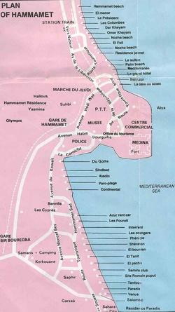 Карта Хаммамета с отелями