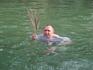 Александр Ломовцев нашёл пальмовую веточку прямо в Иордане, так и плавал с ней, не расставаясь...