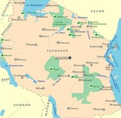 Карта Танзании с национальными парками
