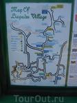 Карта деревни Лиападес, её можно найти рядом с остановкой зелёного автобуса.