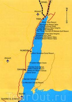 Карта Табы с отелями