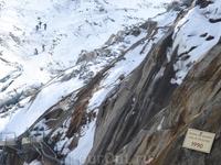 отметка уровня ледника в 1990 году