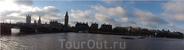 Панорама - мост Вестминстер и здание Парламента