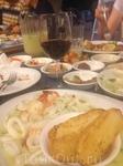 Морепродукты:кальмары и креветки в сливочном соусе
