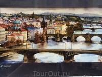 Мосты над Влтавой на холсте