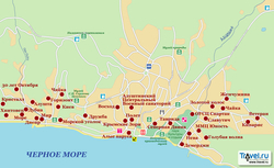 Карта Алушты с пансионатами
