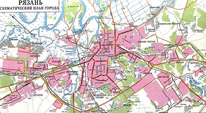 Карта города Рязань.