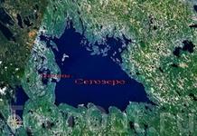 Вид на озеро из космоса