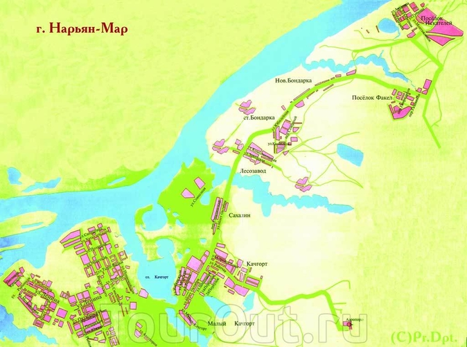 Карта-схема Нарьян-Мара.