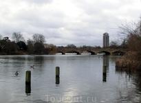 Примерно по середине озеро пересекает мост с автомобильной дорогой сверху. Называется мост Serpentine Bridge по имени озера.