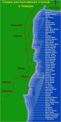 Карта отелей Кемера