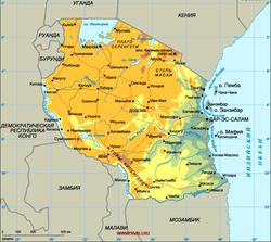 Карта Танзании на русском