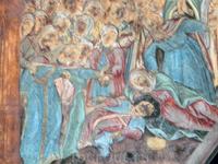 Фрагмент храмовой росписи - сцена плача над убитым царевичем.