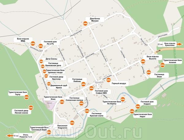 Карта архыза с отелями и гостиницами