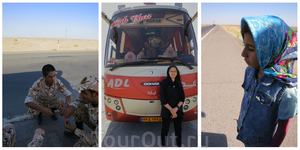 сломаный автобус в пустыне
