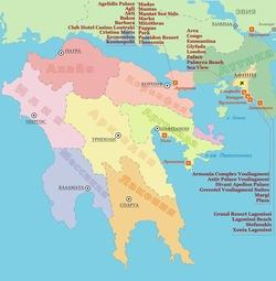 Карта Пелопоннеса с отелями
