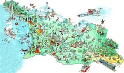Карта Грузии с достопримечательностями