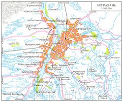 Карта окрестностей Астрахани