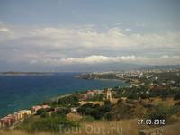 Обратный путь в Агиос Николаос. Снимок из автобуса. Опять залив Мирабелло