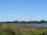 Здание Рыбинской ГЭС, снято с берега Волги (оставалось порядка километра до нее)