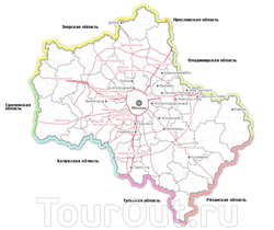 Карта Московской области с автодорогами